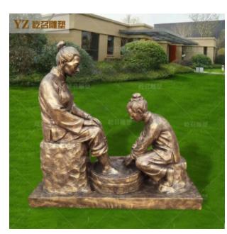 玻璃钢雕塑仿铜孝心人物母亲洗脚孝道主题仿真母亲梳头捶背雕塑