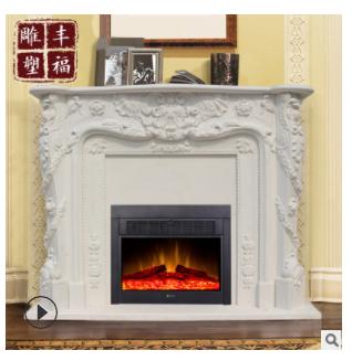 汉白玉雕花壁炉 石雕室内取暖炉 大理石雕刻石材壁炉架FFBLS-782