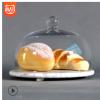 现货批发天然大理石底座透明玻璃蛋糕罩食物罩20厘米大理石圆盘