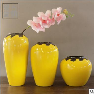 高温颜色釉黄色陶瓷花瓶 转角玄关桌面花器手工窑变花插 可水培