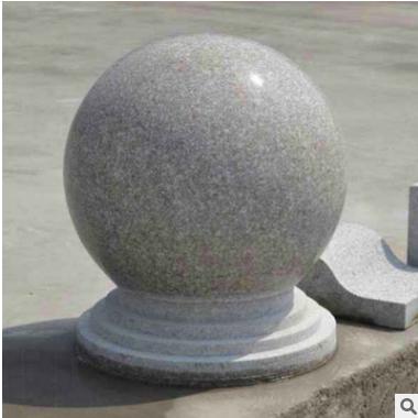 车挡石定制 直径400MM加厚带底座石圆球 挡车用路边石花岗岩