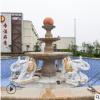 厂家直销黄锈石晚霞红石雕喷泉风水球汉白玉喷水象流水摆件雕塑