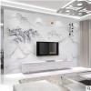 瓷砖电视背景墙客厅中式现代高温微晶仿大理石背景石材岗石罗马柱
