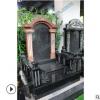 河北张家口墓碑 精美山西黑欧式传统墓碑 搭配英国棕碑顶罗马柱